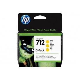 3 Cartucce inchiostro HP giallo 712 29ml 3ED79A